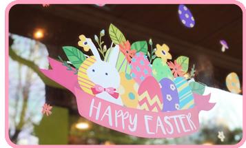 イースターの店舗装飾ウィンドウシール 森のハッピーイースター